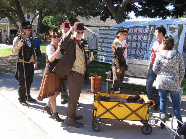 A bunch of steampunk enthusiasts were attending the historical event!