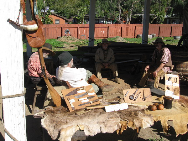 Some mountain men were camped at the Black Hawk Livery Stable, near the Old Town blacksmith shop.