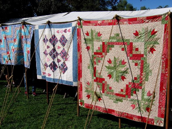 Some beautiful quilts on display during Mormon Battalion Commemoration Day in Old Town San Diego.