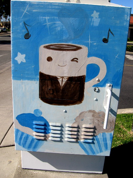 A happy mug of coffee gives a wink near muffins, beneath musical notes.