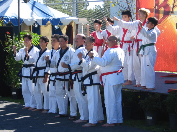 The friendly martial arts group poses.