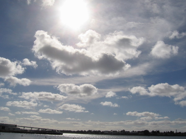 Beautiful clouds and blue sky above San Diego Bay.