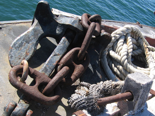 Instruments of control in a stormy world. Rope, chain and anchor.