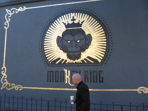 It appears Monkey King is a restaurant soon to open in the Gaslamp Quarter. I discovered a shining gold mural on their wall!