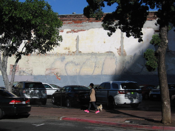 No mural on this wall. A lady in pink shoes walks her dog in downtown San Diego.