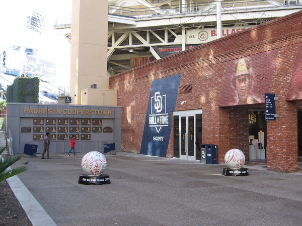 Look what I found! These must be new. Two huge baseballs at Petco Park near the Padres Hal of Fame.