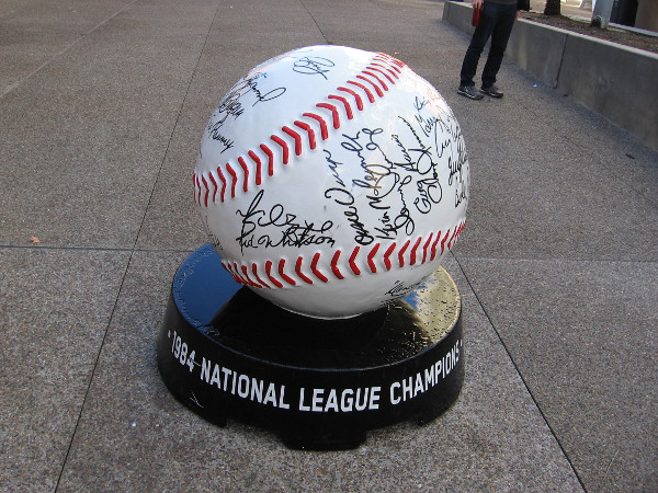 One huge baseball has the autographs of the 1984 National League Champion Padres!