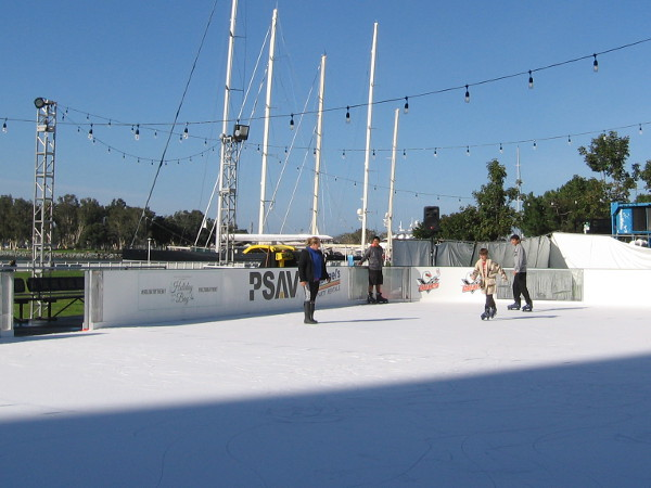The Holiday by the Bay ice rink near the Hilton San Diego Bayfront seems to be winding down. A few skaters were out on New Year's Day morning.