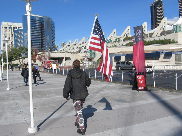 I saw this guy walking along with a large flag. I didn't think to pursue him and ask why.