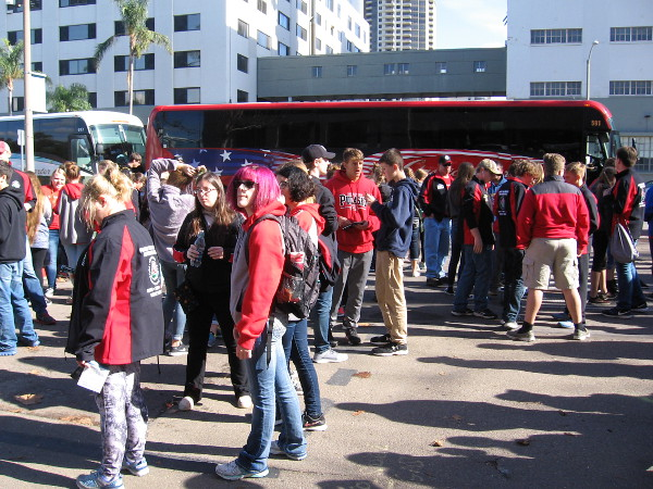 Very strange--Wisconsin's Pulaski Red Raiders High School marching band in San Diego today! Why? A little searching indicated that they will will perform tomorrow morning in the Tournament of Roses Parade!