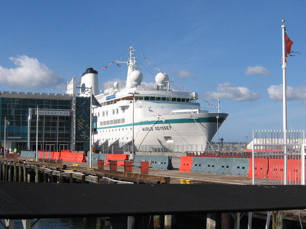 That isn't a cruise ship. It's the MV World Odyssey, a floating classroom! Its Semester at Sea allows students to study while touring the world!