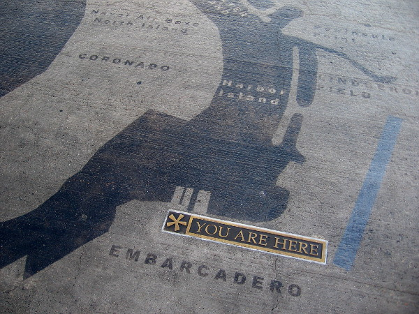 Three large maps on the Broadway Pier show the shape of San Diego Bay in different eras. This outline of the modern bay shows where I now stand on the Embarcadero!