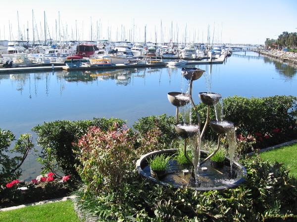 A beautiful fountain on the grass near the Chula Vista Marina office.