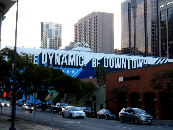 Mural at Sixth Avenue and Ash Street promotes living, working and playing in downtown San Diego.