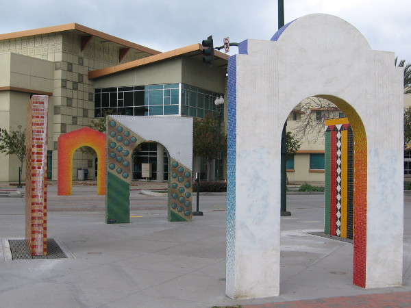 These arches in National City's Morgan Square Plaza delight the eye with their colorful tiles and designs