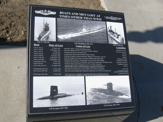 A new plaque respectfully recounts those Boats and Men Lost at Times Other Than WWII. A faded, identical plaque has been replaced in this photo, which I took at a later time.