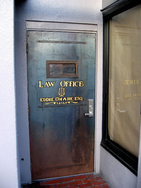 Mysterious door in San Diego's Gaslamp Quarter reads: Law Office Eddie O'Hare, Esquire. It's actually the entrance to a sneaky speakeasy, containing the underground 1920's themed Prohibition Lounge!