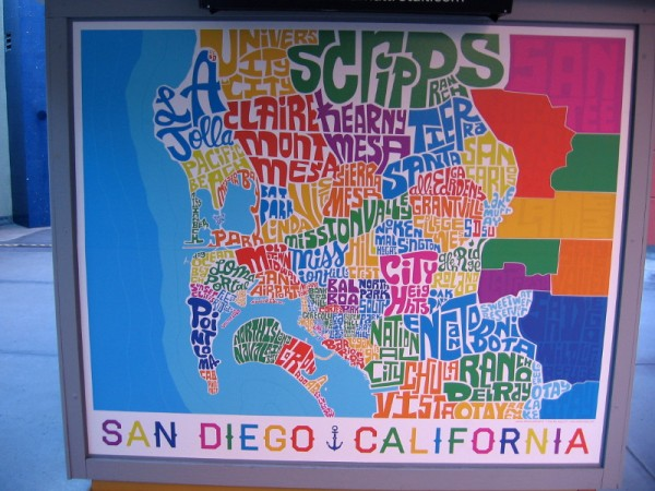 Cool map made of colorful words shows different neighborhoods, lakes, beaches and parks in San Diego.