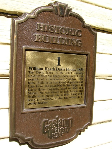 The William Heath Davis House is the oldest surviving structure from San Diego's New Town. It is a prefabricated salt-box style home, shipped from Portland, Maine around Cape Horn. Dated 1850.