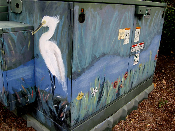 Street art on Mission Center Road north of Friars Road depicts nature along the nearby San Diego River.