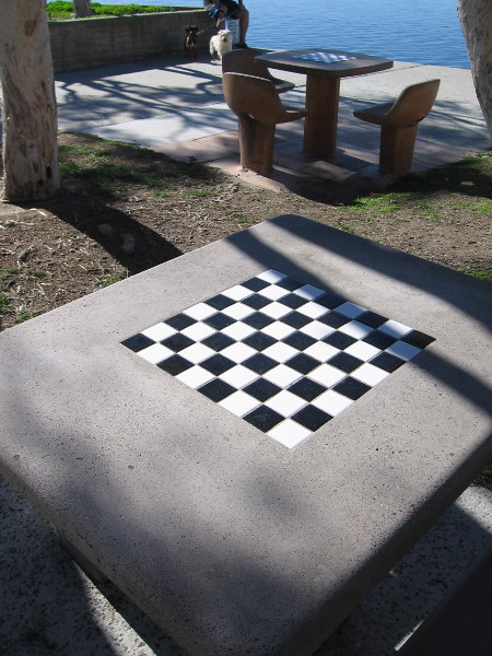 One of several tables by San Diego Bay containing a tile chess board.