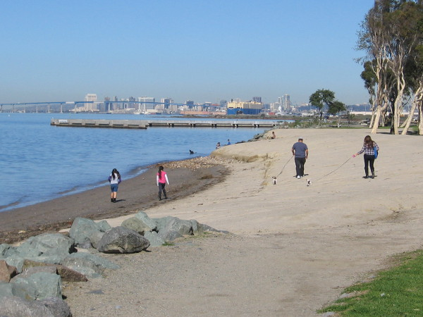 Walking north along the beach area. Downtown San Diego and the Coronado Bay Bridge can be seen in the distance.