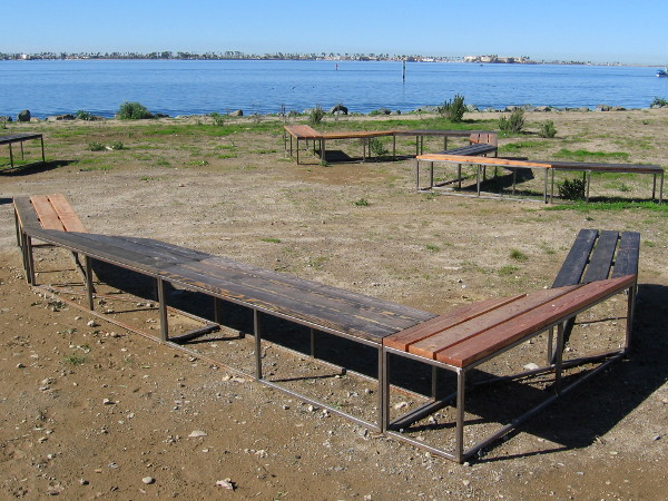 Visitors to the Bayside Park might sit here and talk, or take in views of San Diego Bay.