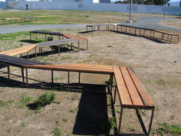 A large group of people could sit here and have a bench party!