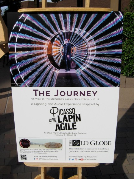 The Journey is on view at the Old Globe Theatre's Copley Plaza through this Sunday, February 19. A cool experience inspired by the Steve Martin play Picasso at the Lapin Agile.