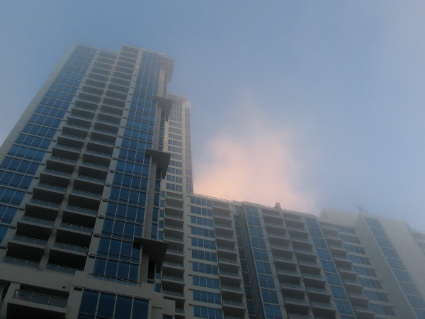 Vantage Pointe in downtown San Diego rises into a fog illuminated by the rising sun.