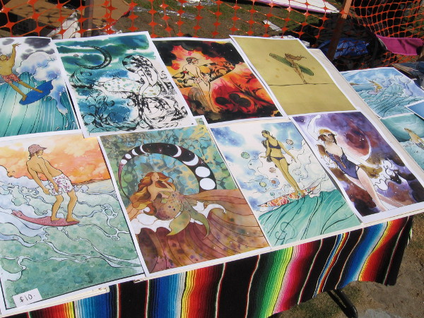 An artist was displaying some cool surf art at the competition.