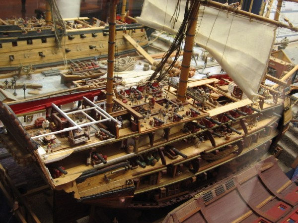 Detailed model of a 74 gun two-decker British Ship of the Line, circa 1800. By artist Joe Frangiosa, Jr.