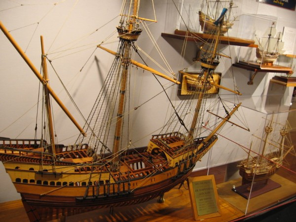 Half a dozen ship models in different scales of the San Salvador, historic galleon of explorer Juan Rodriguez Cabrillo, who discovered San Diego Bay for Spain in 1542.