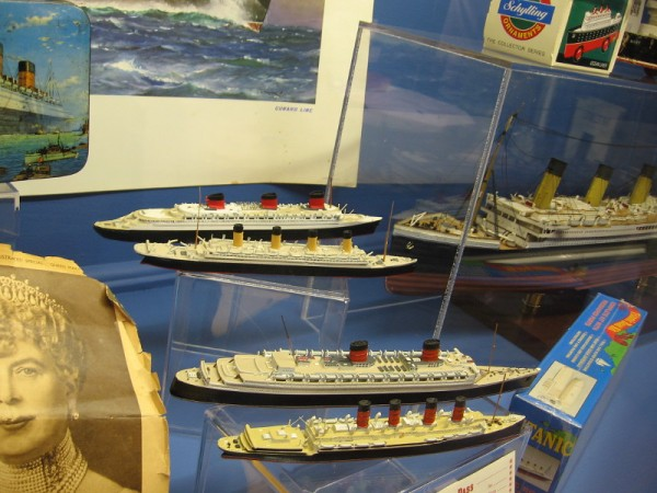 Tiny models of classic cruise ships, including the famous Titanic.