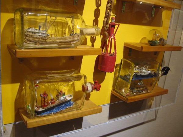 Just a few of the many ships in bottles on display now at the Maritime Museum of San Diego.
