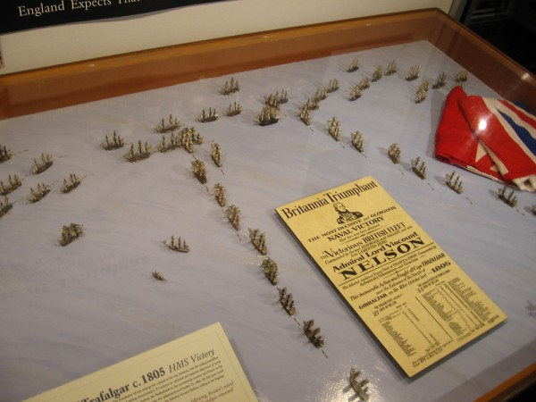 Tiny model ships recreate the Battle of Trafalgar between the British Royal Navy and the Spanish fleet in 1805. Admiral Nelson sailed two columns directly into the opposing line of ships.