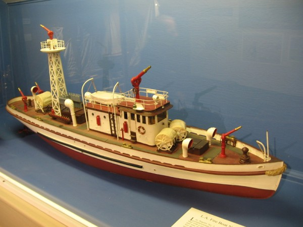 Dr. William Brown produced models of ordinary working boats and ships, as well as historically important vessels. This is L.A. Fire Boat No. 2 which was launched in 1925.