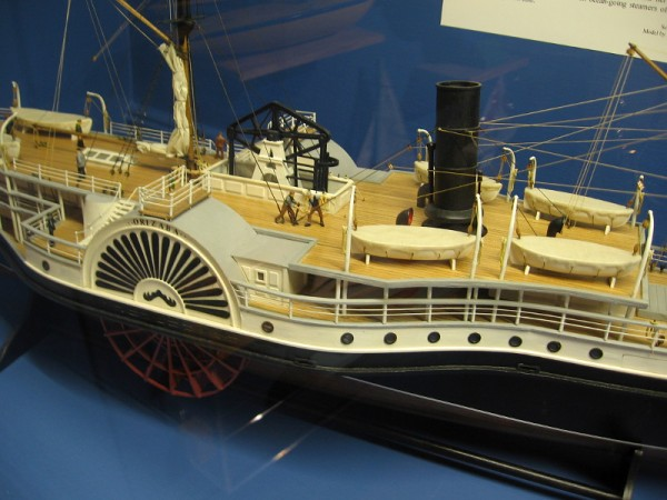 Close look at Orizaba, a merchant vessel instrumental in San Diego's early history. Dr. William Brown has produced dozens of models specifically for the Maritime Museum of San Diego.