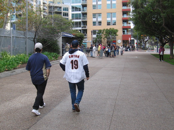 Heading toward Petco Park, where the San Diego Padres play. An event today promoted many local pro and college teams, now that the NFL Chargers have left.