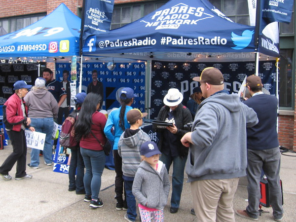 Many tents were set up in Petco's Park at the Park by local radio stations and broadcasters. Lots of free stuff was given out. I got a cool MLB Padres cap!
