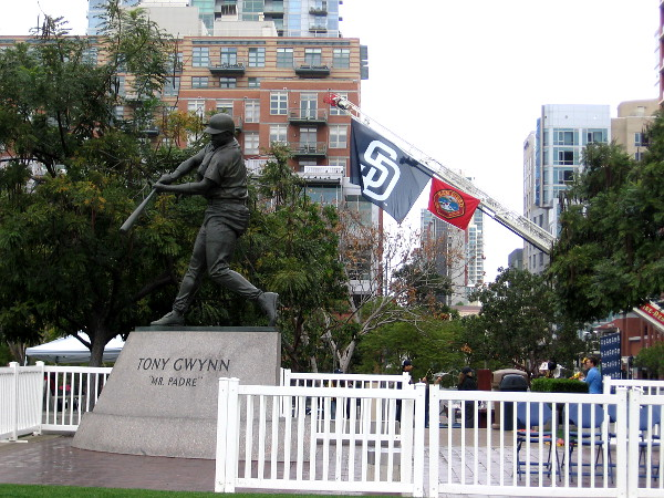 A city firetruck had a Padres flag flying from their ladder behind the Tony Gwynn statue.