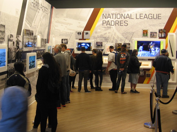 Baseball fans check out cool exhibits inside the San Diego Padres Hall of Fame at Petco Park.