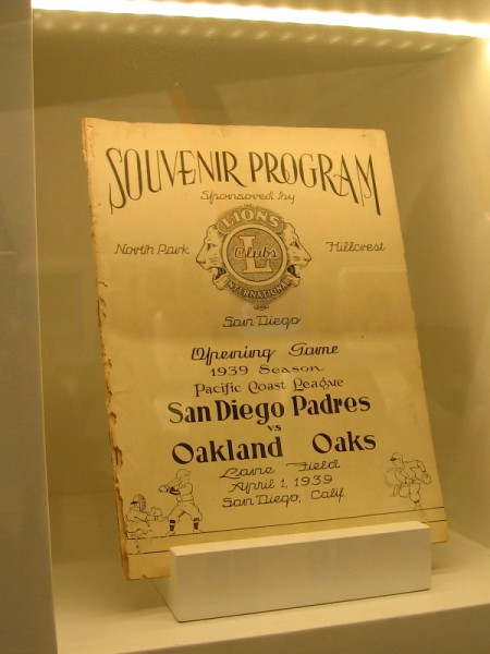 Souvenir program for the opening game of the 1939 season in the Pacific Coast League. San Diego Padres versus Oakland Oaks.