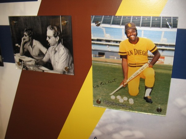 Photos of legendary radio broadcaster Jerry Coleman, who began a 42-year career in 1972, and Nate Colbert who that year hit five home runs in a Padres baseball double header.