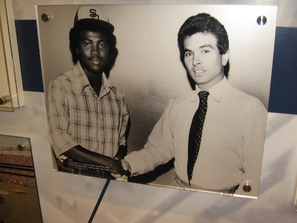 1981 photo shows future superstar Tony Gwynn signing with the San Diego Padres.