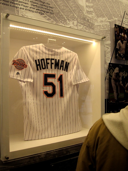 Legendary reliever Trevor Hoffman's jersey on display in the Padres Hall of Fame at Petco Park. He helped the Padres win the 1998 National League pennant.