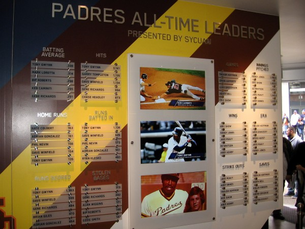 A display board inside the Padres Hall of Fame shows the team's all-time leaders in various categories.