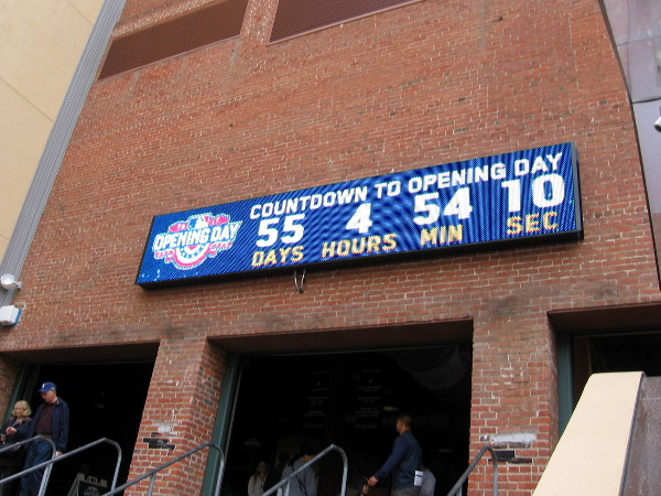 According to a countdown clock on the Western Metal Supply Co. building, there are 55 days until baseball's Opening Day!