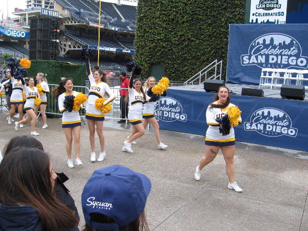 UCSD cheerleaders start an energetic routine!