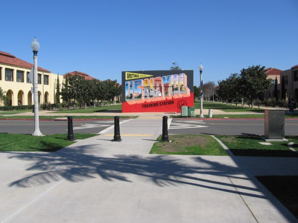 A huge postcard has appeared on Dewey Road in Point Loma, at the southwest end of the Liberty Station's Arts District!